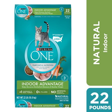 Purina One Indoor Advantage Weight & Hairball Control Natural Dry Cat Food, 22