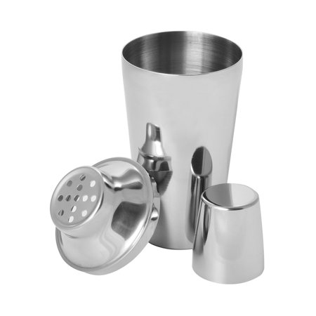 Winco BS-1P, 16 Oz. Stainless Steel Bar Shaker, Classic and Elegant Bartender Cocktail Shaker, Shaker Set for Home Bar Salon Nightclub, 3-Piece Set