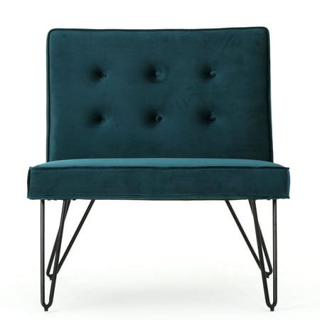 - DuSoleil New Velvet Modern Armless Chair, Teal