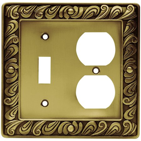Single Box Cover Solid Brass (64050 Paisley Single Toggle Switch/Duplex Outlet Wall Plate / Switch Plate / Cover, Brushed Satin Pewter, Made of solid zinc for style and durability..., By Franklin Brass Ship from US )