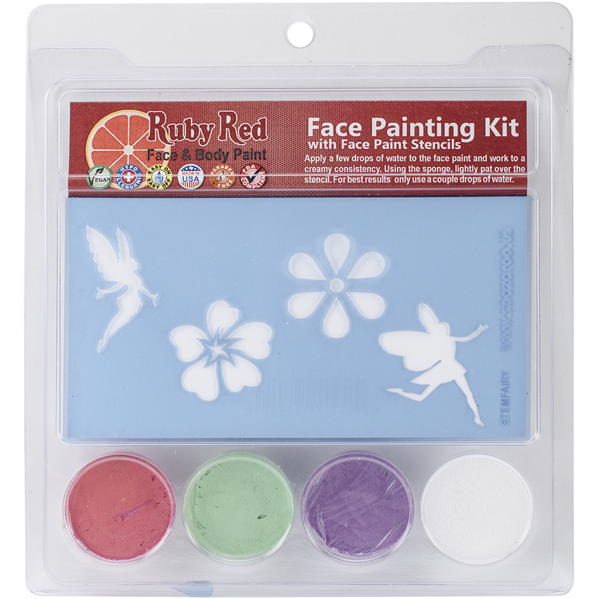 Ruby Red Face Painting Stencil Kit-Fairy Multi-Colored