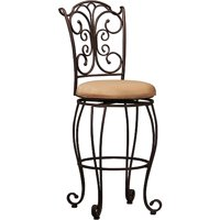 Linon Gathered Back Bar Stool, Swivel Seat, 29 inch Seat Height