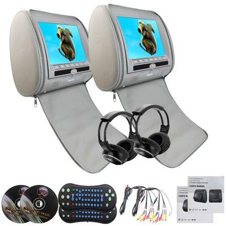 Eincar Region Free Car Dvd Headrests Playerpair Of Headrest Dvd Player Pillow Monitors 9 Inch Lcd Gray 32 Bit Games Dvd Usb Sd Video Monitors   2 Wireless Remote Control  2 Infrared Headphones