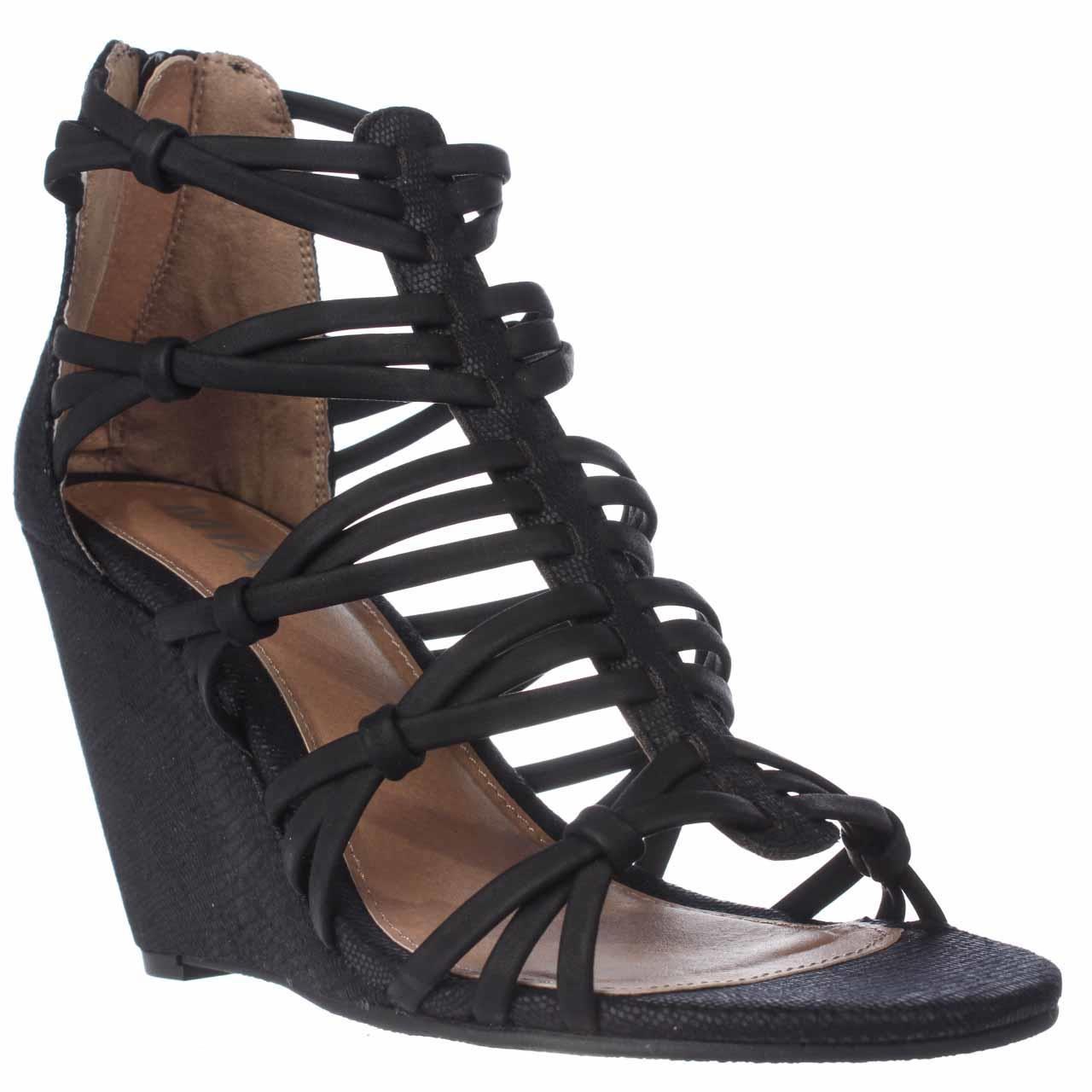 Womens Mia Dylon Wedge Strappy Sandals - Black Vintage Lizard