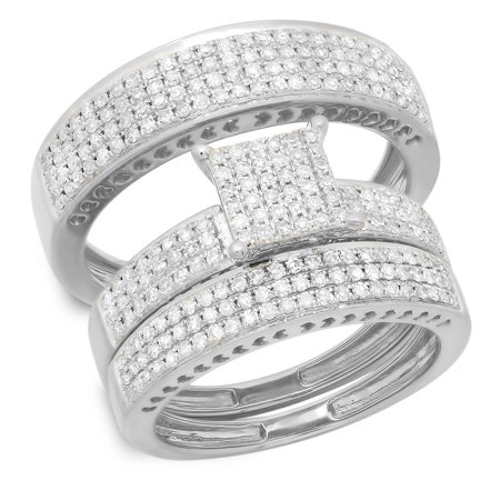 1.10 Carat (ctw) 10K Gold Round White Diamond Ladies & Mens Micropave Engagement Ring Trio Set Band 1 CT