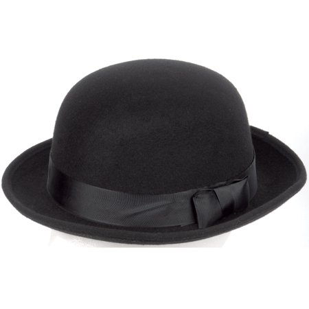 Loftus Felt Gentleman Ribbon Bowler Black Derby Hat, Black, One-Size - Black Felt Derby Hat