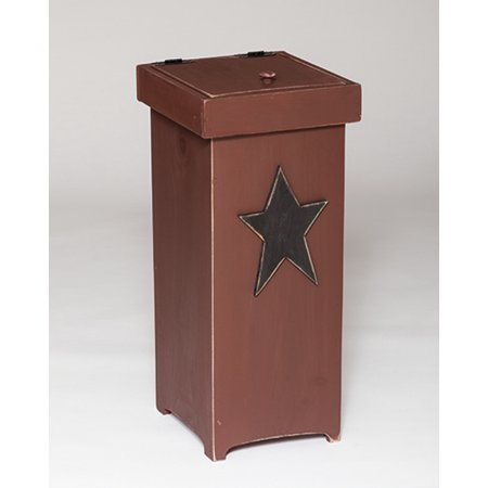 Furniture Barn Usa Primitive Pine Trash Can With Red Rustic Star