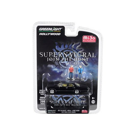 Greenlight 51206 1967 Chevrolet Impala Sport Sedan Black with Sam & Dean Figurines Supernatural 2005 TV Series Limited Edition to 4600 Pieces Worldwide 1-64 Diecast Model
