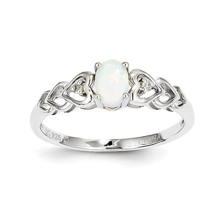 925 Sterling Silver Diamond & Oval Created Opal October Stone Heart Ring (Diamond Created Opal Heart Ring)