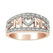 925 Sterling Silver MOM Letter Diamond Mummy Band Rings