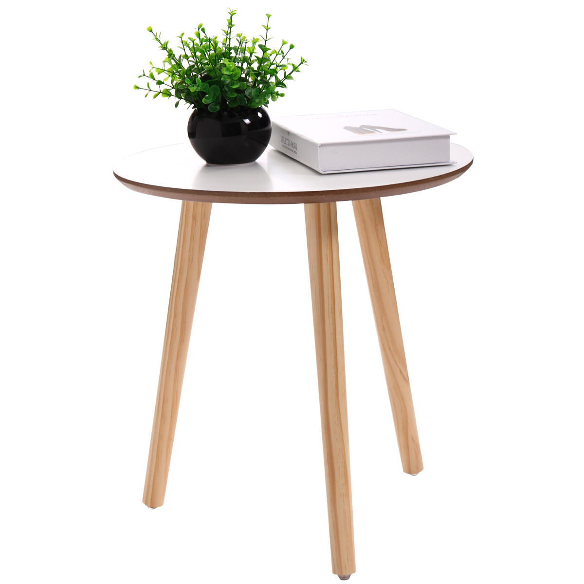 White Wood Simple Round Coffee Tea Table End Table Practical Home Decor