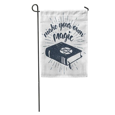 SIDONKU Halloween Label Spells Book and Make Your Own Magic Inspirational Garden Flag Decorative Flag House Banner 12x18 inch - Make Your Own Halloween Yard Decor