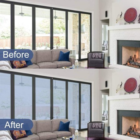 Rabbitgoo One Way Window Film Anti UV Window Film Removable Decorative Heat Control Privacy Glass Tint for Home and Office Windows 17.5 x 78.7 inches, Silver
