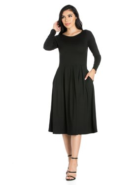 3ee7579391fe Product Image 24seven Comfort Apparel Long Sleeve Fit and Flare Midi Dress