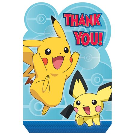 Pokemon Party Supplies 8 Pack Thank You Notes - Wholesale Pokemon