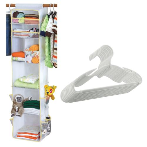 Dex Baby Closet Cubby with 10 Pack Baby Clothes Hangers