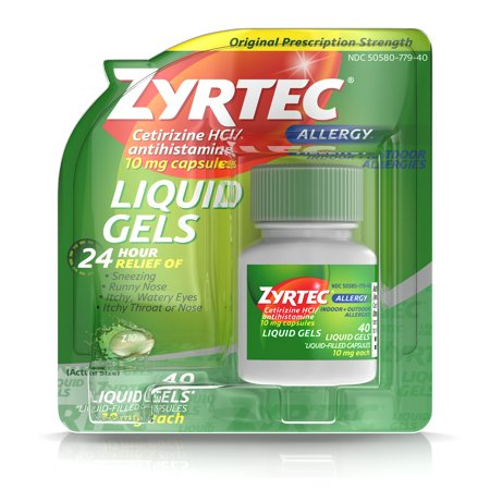Zyrtec 24 Hour Indoor & Outdoor Allergy Medicine Liquid Gels With Cetirizine, 40 Count