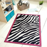 "Pink border Zebra Kids girls play Area Rug 3'3""x5'"
