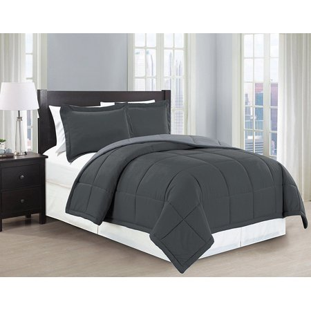 Fancy Linen 2pc Twin Down Alternative Comforter Set Reversible Charcoal/Gray New