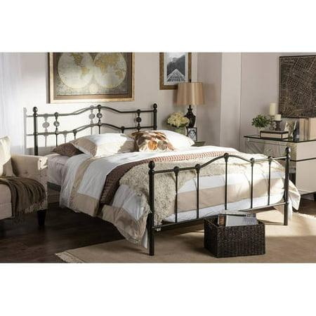 Baxton Studio Wendy Chic Vintage Antique Dark Bronze Full Size Iron Metal Platform Bed