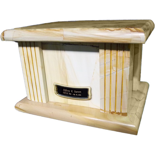 Star Legacy's Natural Marble Teak Wood Grain Large Adult Cremation Urn for Human Ashes