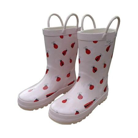 Ladybug Booties - Pink Lady Bug Toddler Girls Rain Boots 5-10