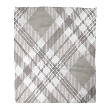 ASHLEIGH Flannel Throw Blanket Brown Tartan Plaid Pattern Printing Check Pattern in Grey Taupe and White Classic Countryside Gray Tweed 58x80 Inch Lightweight Cozy Plush Fluffy Warm Fuzzy Soft ()
