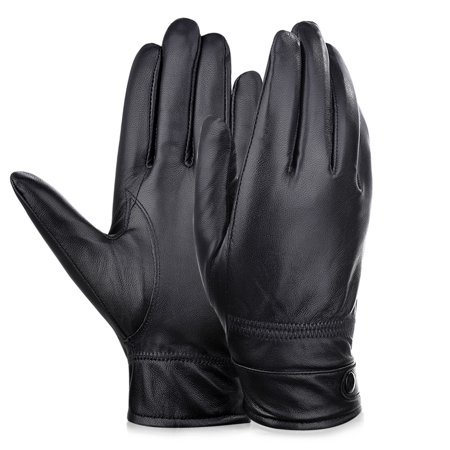 Vbiger Fashionable Winter Thickened Sheepskin Leather Gloves - Cycling Gloves for Men, Black, L - Black Spiderman Gloves