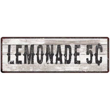 LEMONADE 5¢ Ship Lap Look Distressed Metal Sign 6x18 Country Chic Wall Décor .040 Thick Low Lustre M61800121](Lemonade Signs)