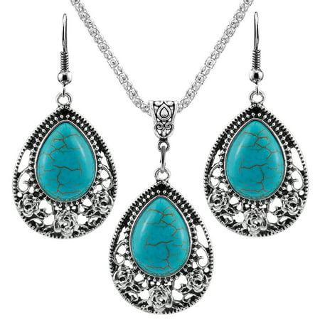 Women Girls Jewelry Ethnic Bohemian Drip Turquoise Pendant Necklace with Flower Trim + Earrings Eardrop Ear Studs Set