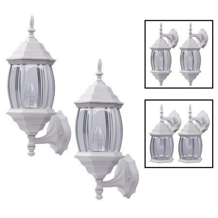 White Porch Light - Outdoor Exterior Wall Light Fixture Lantern Porch Patio Downlight/Uplight Twin Pack, White
