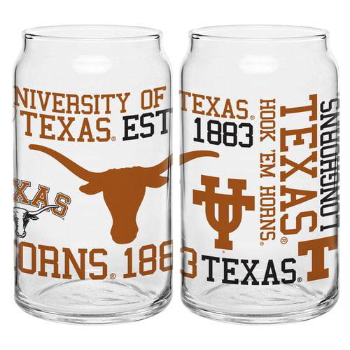 Boelter Brands NCAA Set of Two 16 Ounce Spirit Glass Can Set, University of Texas Longhorns