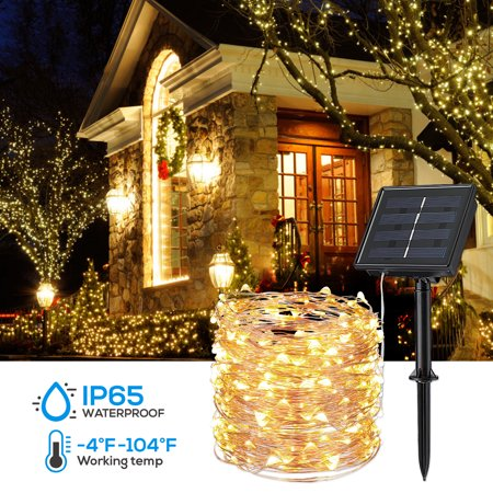 TORCHSTAR Solar String Lights, 40ft 100 LED String Lights, Solar Lights, Decorative Lights, Pure White ()