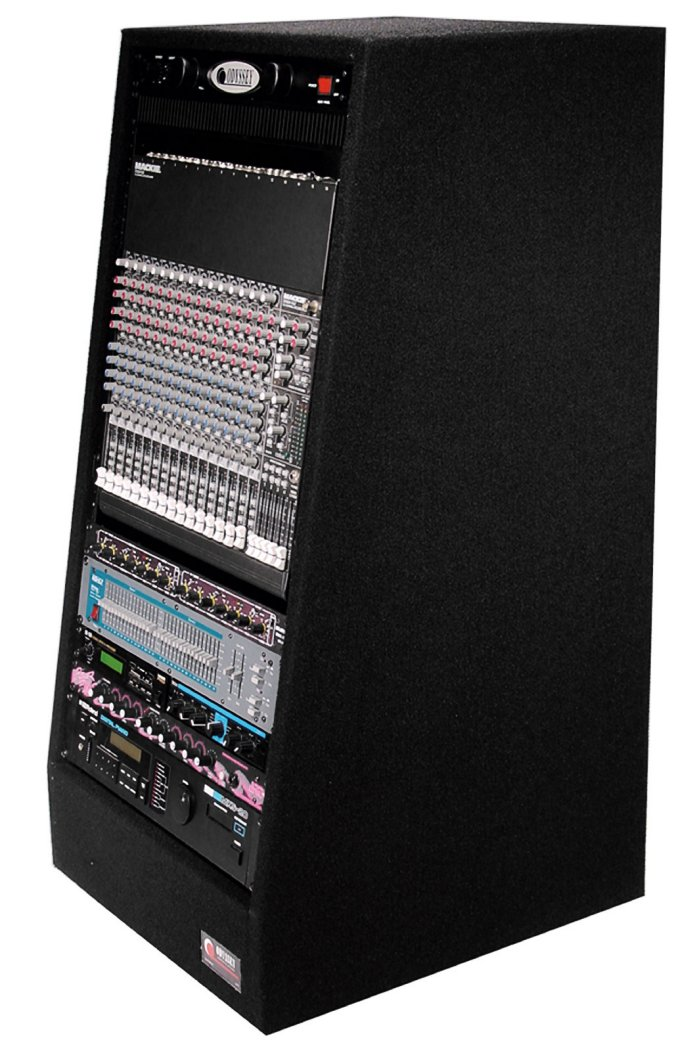 Odyssey CRS20W Carpeted Angled DJ Studio Rack w  Wheels & 20U Front Rack Rails by Odyssey