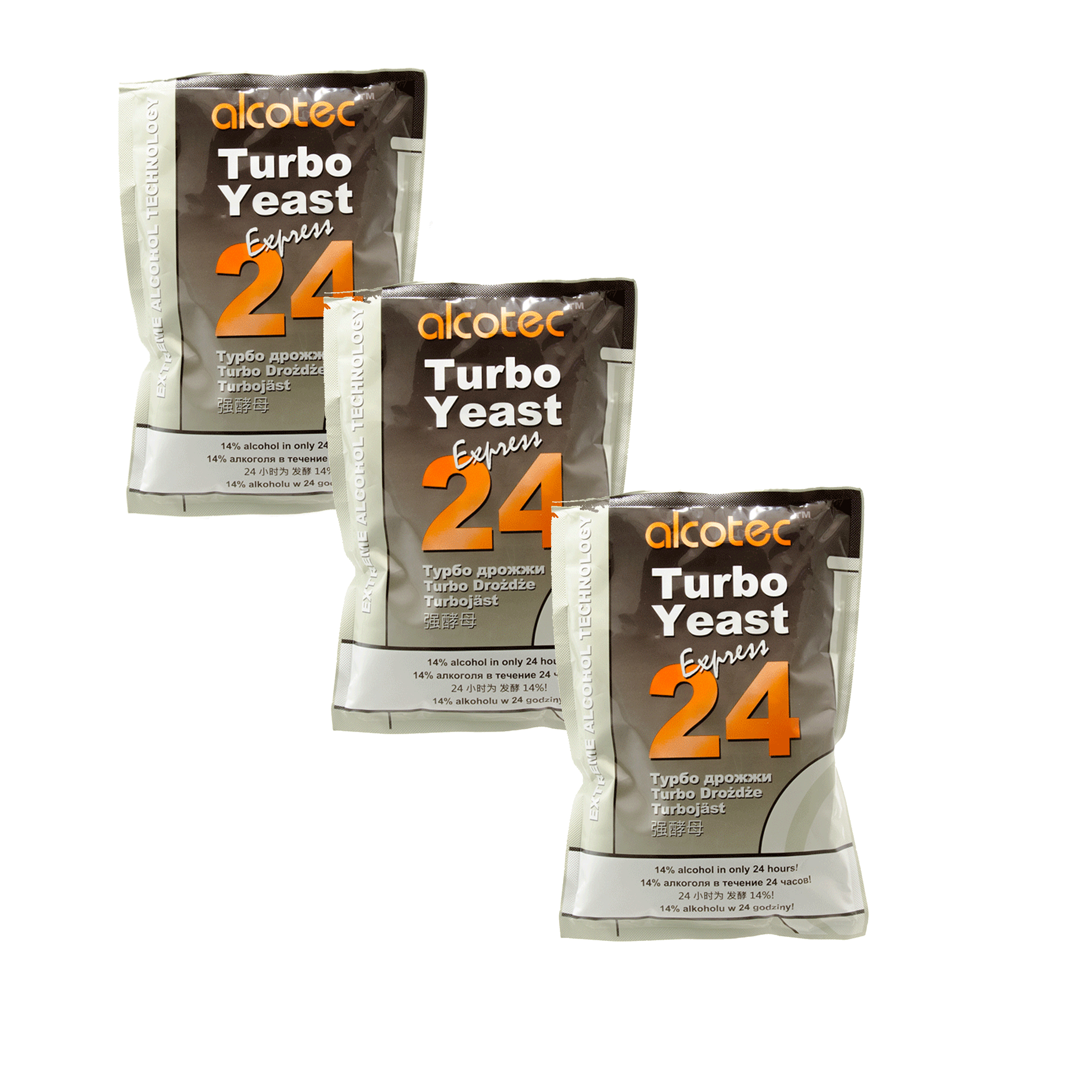 Alcotec 24 Hour Turbo Dry Distiller's Yeast Fast Fermentation Moonshine 3 Pack by HomeBrewStuff