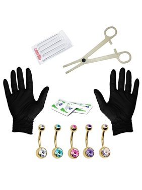 15PCS Professional Piercing Kit Stainless Steel 14G Double CZ Belly Navel Ring Body Piercing Set