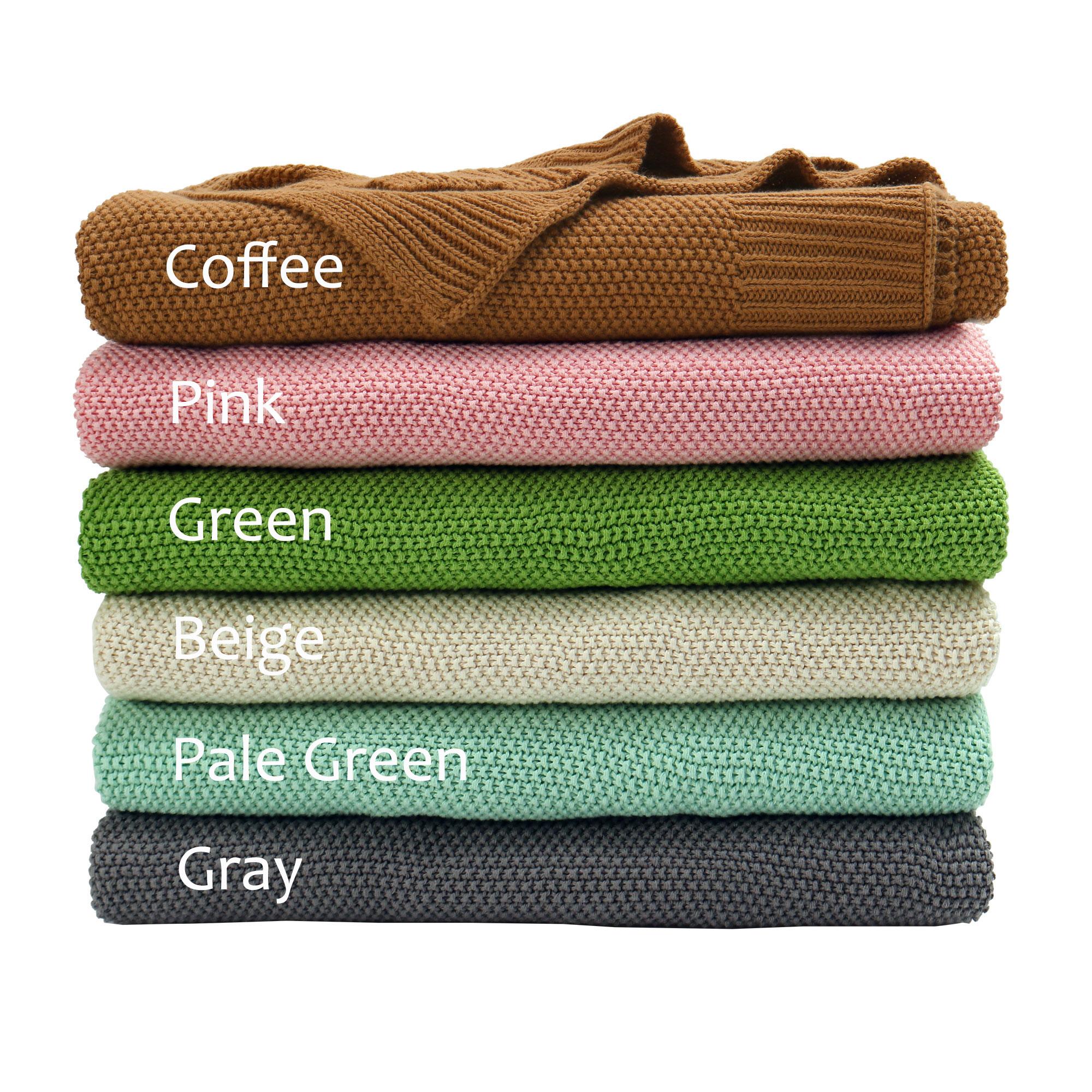 "100% Cotton Soft Warm Knit Throw Blanket Bed Sofa Home Decor 50"" x 60"" Gray"