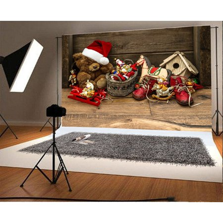 (MOHome Polyster 7x5ft Merry Christmas Backdrop Red Hat Bear Boots Sled Gifts Vintage Wood Plank Happy New Year Photography Background Kids Adults Photo Studio Props)