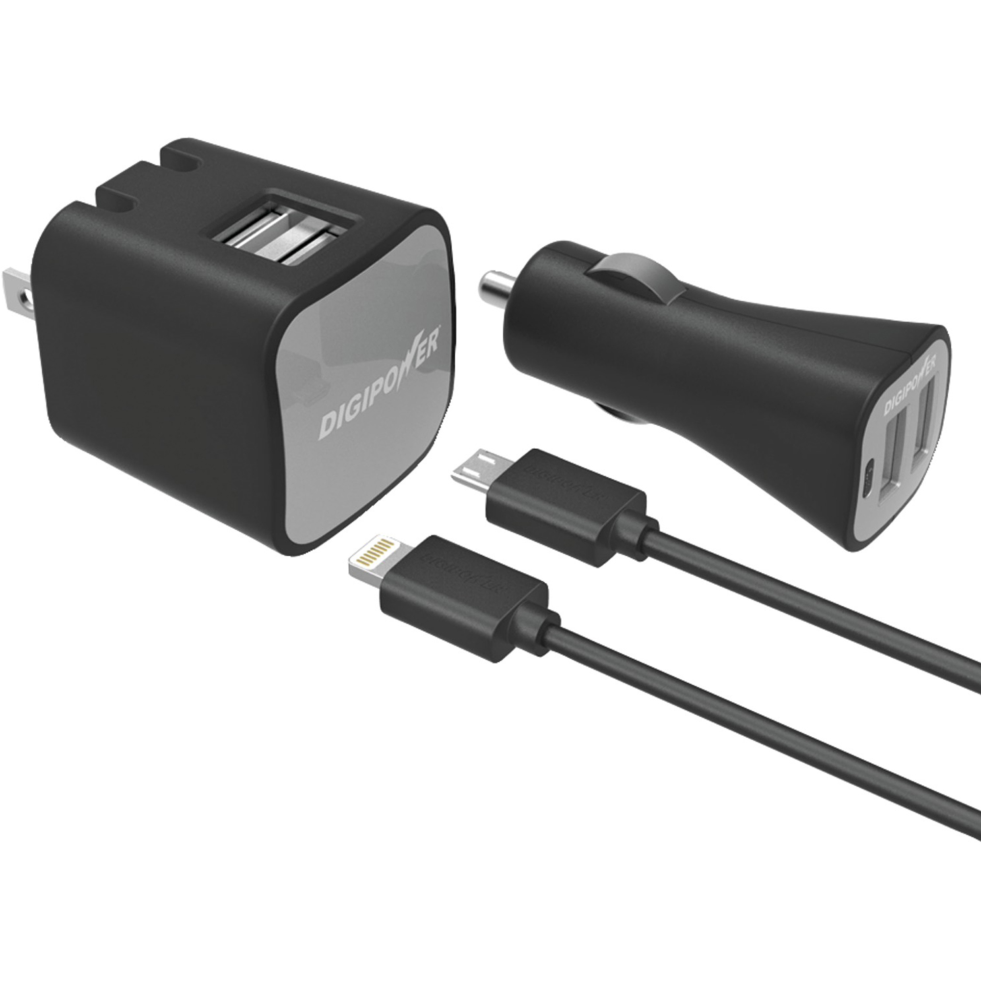 Digipower IS-PK2ML InstaSense 2.4A Dual-Port USB Car Charger and 2.4A 2-Port USB Wall Charger