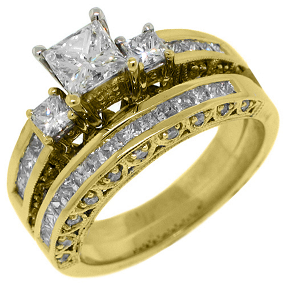 14k Yellow Gold Princess 3-Stone Diamond Engagement Ring Bridal Set 1.88 Carats