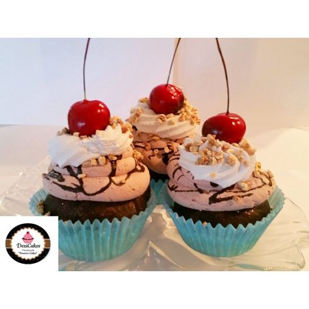 Chocolate Cherry Faux Cupcakes- Fake Food Display SET of 3- Home Decor, Party Favors, Decoration by DeziCakes