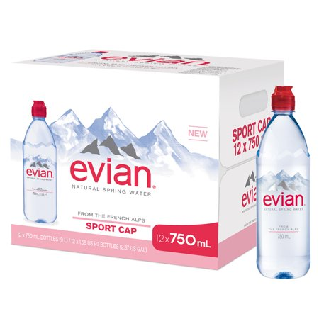Evian Natural Spring Water, 750 ML, 12 Count