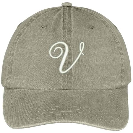 Trendy Apparel Shop Letter V Script Monogram Font Embroidered Washed Cotton Cap - Monogram Script Font