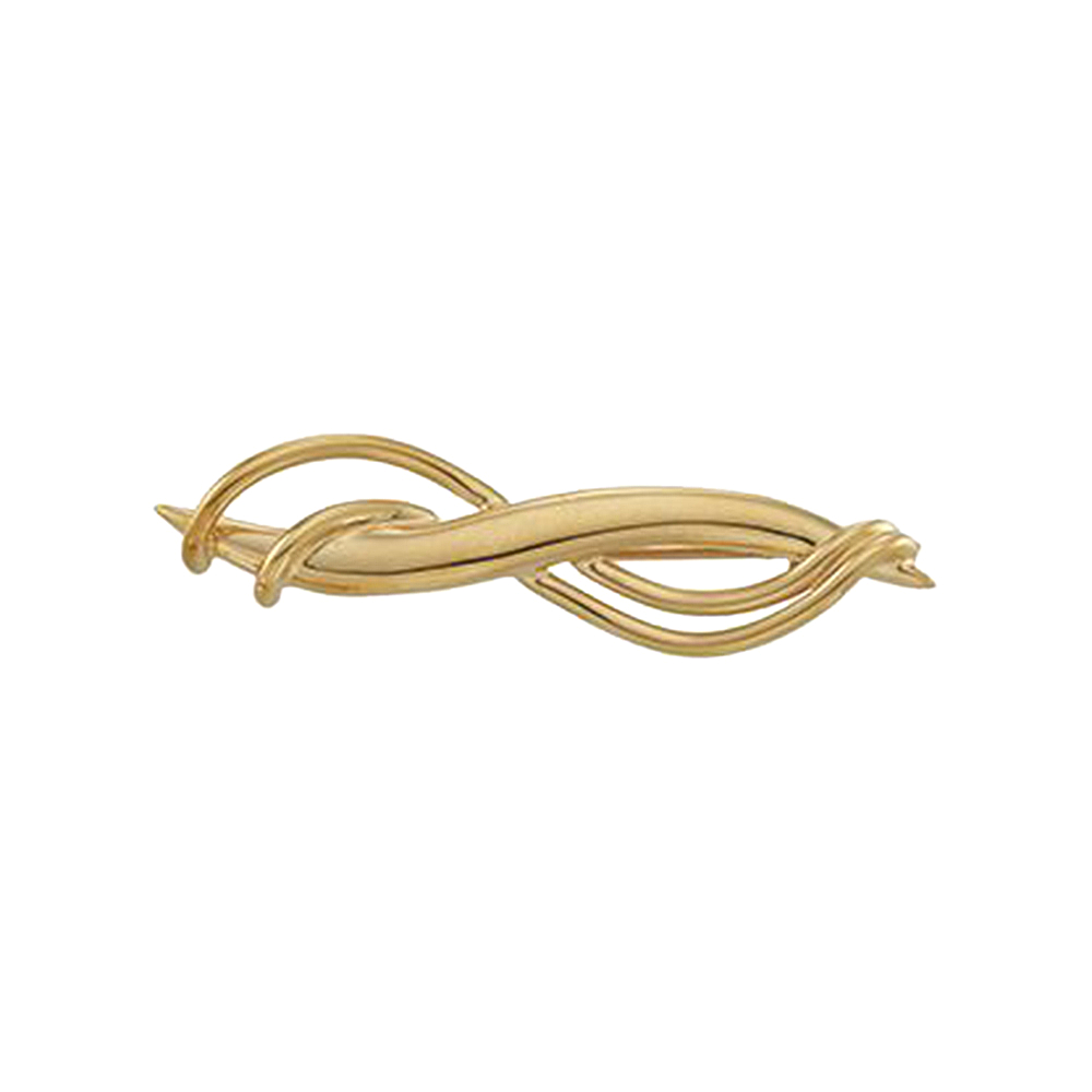 14K Yellow Gold Overlapping Twist Pin Brooch by