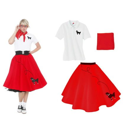 Adult 3 pc - 50's Poodle Skirt Outfit - Red / - 50s Day Outfit Ideas