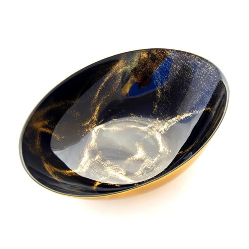Thassos Oval Serving Bowl Black/Gold