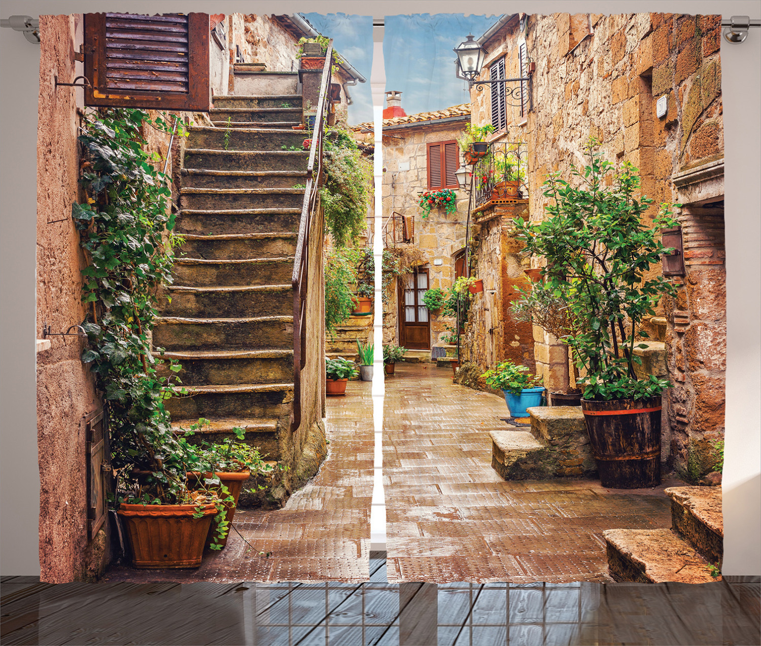 8x12 FT Vinyl Photography Background Backdrops,View of Old Mediterranean Street with Stone Rock Houses in Italian City Rural Print Background for Photo Backdrop Studio Props Photo Backdrop Wall