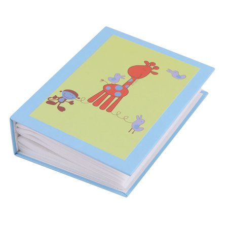 - Cardboard Giraffee Print Book Style 100 Pockets Picture Collection Album Blue