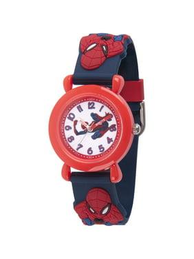 Spider-Man Boys' Red Plastic Time Teacher Watch, Spider-Man 3D Strap