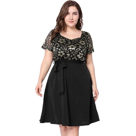 Women's Plus Size A-Line Belted Short Sleeve Lace Midi (Linen Belted Dress)
